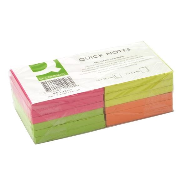 BLOCOS ADERENTES Q-CONNECT KF10508 - 75X75  4 CORES NEON - PACK12 (28603)