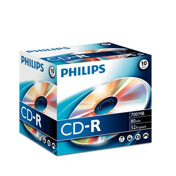 CD GRAVAVEL PHILIPS CR7D5NJ10 - 700MB 80MIN 52x CAIXA JEWEL PACK10