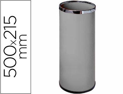CHAPELEIRA METALICA REDONDA 20L CINZA COM AROS CROMADOS 500X215mm (23316)