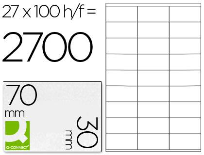 ETIQUETAS Q-CONNECT INKJET/LASER KF10642 - A4 CX100FL 70X30  /27