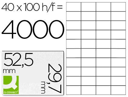 ETIQUETAS Q-CONNECT INKJET/LASER KF00574 - A4 CX100FL 52,5X29,7  /40