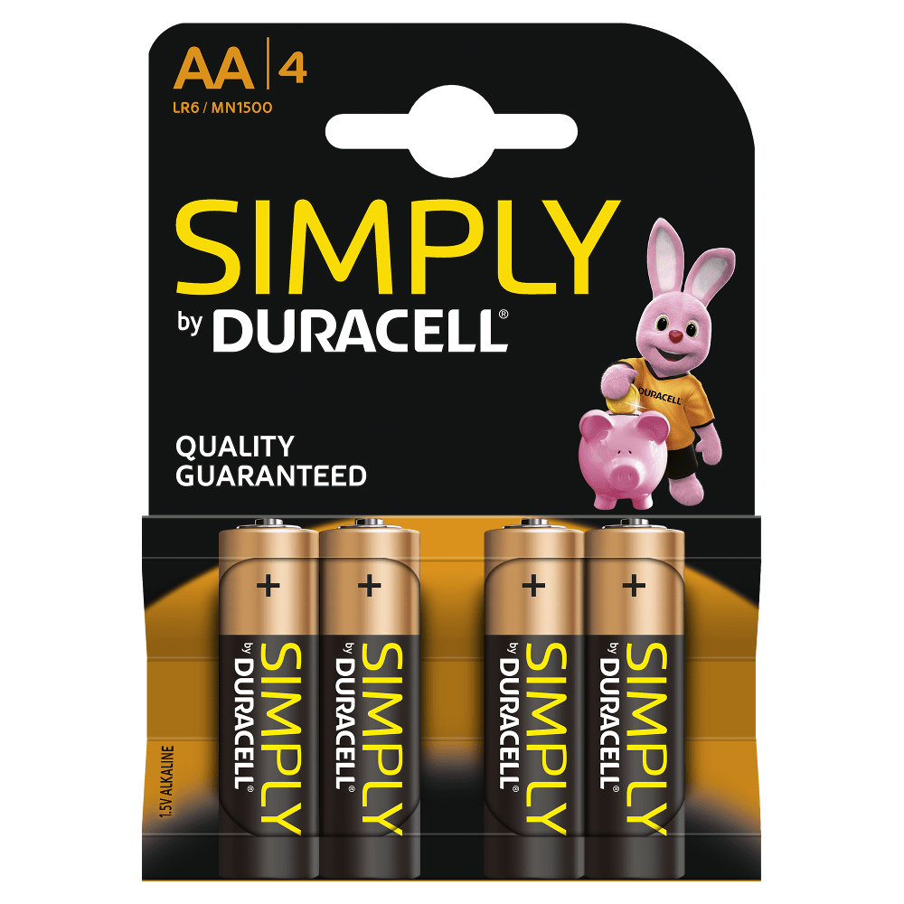Pilhas Alcalinas Duracell Simply 1500 LR6 - AA 21313 Pack 4
