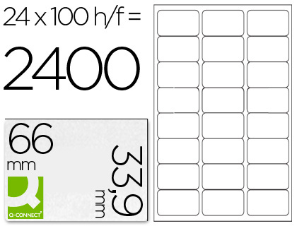 ETIQUETAS Q-CONNECT INKJET/LASER KF10639 - A4 CX100FL 66x33.9  /24 CANTOS RED.
