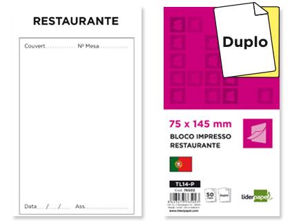 BLOCOS RESTAURANTE LIDERP.TL14 145X75 ORIGINAL E COPIA 76502 Pack c/10