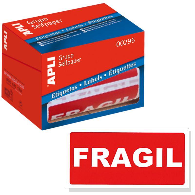 ETIQUETAS ADESIVAS APLI 00296 FRAGIL 50x100mm ROLO C/200 - 71938